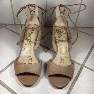 SAM EDELMAN Serene Suede Lace Up Heel Sandals NEW